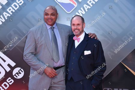 Charles Barkley, left, and Ernie Johnson Jr. arrive at the NBA Awards, at the Barker Hangar in Santa Monica, Calif