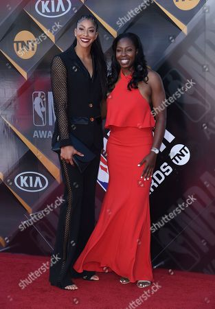 Candace Parker, left, and Chelsea Gray arrive at the NBA Awards, at the Barker Hangar in Santa Monica, Calif