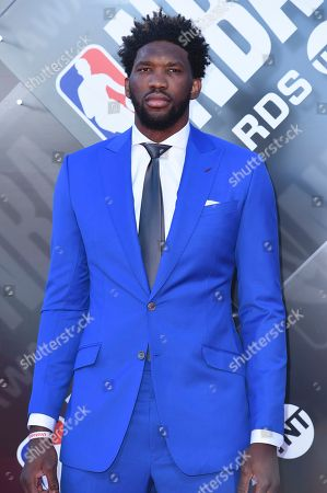 Stock Picture of Joel Embiid arrives at the NBA Awards, at the Barker Hangar in Santa Monica, Calif