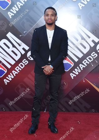 Tristan Wilds arrives at the NBA Awards, at the Barker Hangar in Santa Monica, Calif