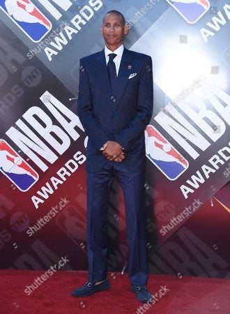 Reggie Miller arrives at the NBA Awards, at the Barker Hangar in Santa Monica, Calif