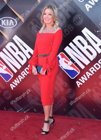 Jeanie Buss, president of the Los Angeles Lakers, arrives at the NBA Awards, at the Barker Hangar in Santa Monica, Calif