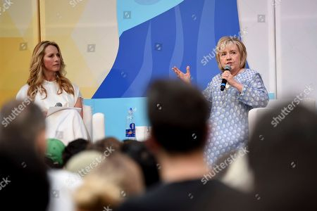 Former First Lady of The United States, Democratic presidential candidate and former Secretary of State Hillary Rodham Clinton, right, in conversation with Laurene Powell Jobs at OZY Fest in Central Park, in New York