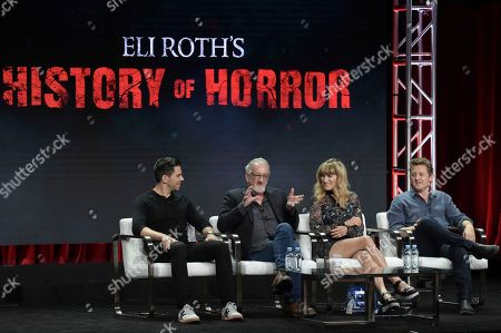 """Eli Roth, from left, Robert Englund, Catherine Hardwicke and Alex Winter participate in """"Eli Roth's History of Horror """" during the TCA Summer Press Tour, in Beverly Hills, Calif"""