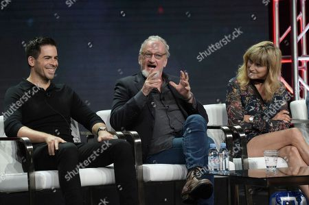 """Eli Roth, from left, Robert Englund and Catherine Hardwicke participate in the """"Eli Roth's History of Horror """" panel during the TCA Summer Press Tour, in Beverly Hills, Calif"""