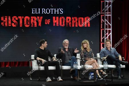 """Eli Roth, from left, Robert Englund, Catherine Hardwicke and Alex Winter participate in the """"Eli Roth's History of Horror """" panel during the TCA Summer Press Tour, in Beverly Hills, Calif"""