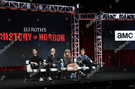 "Eli Roth, from left, Robert Englund, Catherine Hardwicke and Alex Winter participate in ""Eli Roth's History of Horror "" during the TCA Summer Press Tour, in Beverly Hills, Calif"