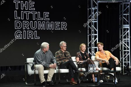 """Simon Cornwell, from left, Stephen Cornwell, Florence Pugh and Alexander Skarsgard participate in the """"Little Drummer Girl"""" during the TCA Summer Press Tour, in Beverly Hills, Calif"""