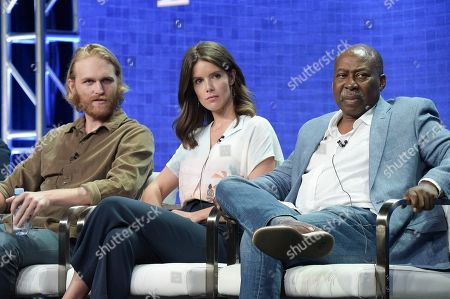 "Wyatt Russell, from left, Sonya Cassidy and Brent Jennings participate in the ""Lodge 49"" during the TCA Summer Press Tour, in Beverly Hills, Calif"