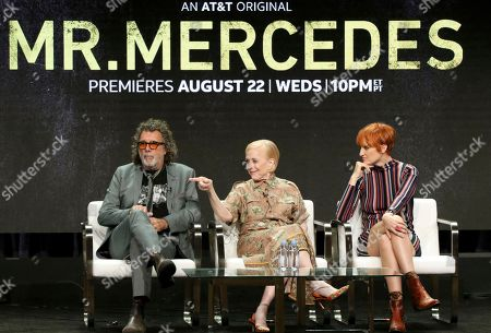 """Director/executive producer Jack Bender, from left, Holland Taylor and Breeda Wool participate in the """"Mr. Mercedes"""" panel during the AT&T Audience Network Television Critics Association Summer Press Tour at The Beverly Hilton hotel, in Beverly Hills, Calif"""