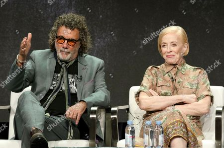 """Director/executive producer Jack Bender, left, and Holland Taylor participate in the """"Mr. Mercedes"""" panel during the AT&T Audience Network Television Critics Association Summer Press Tour at The Beverly Hilton hotel, in Beverly Hills, Calif"""
