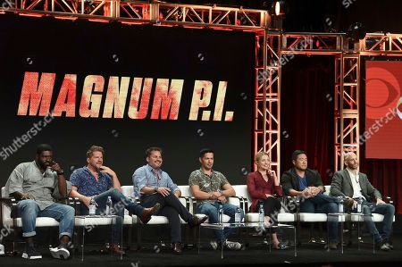 """Stephen Hill, from left, Zachary Knighton, Peter M Lenkov, Jay Hernandez, Perdita Weeks, Tim Kang and Eric Guggenheim participate in the """"Magnum P.I"""" panel during the Television Critics Association Summer Press Tour at the the Beverly Hilton Hotel, in Beverly Hills, Calif"""