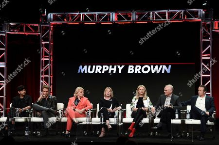 "Nik Dodani, from left, Jake McDorman, Candice Bergen, Diane English, Faith Ford, Joe Regalbuto and Grant Shaud attend the ""Murphy Brown"" panel during the Television Critics Association Summer Press Tour at the the Beverly Hilton Hotel, in Beverly Hills, Calif"