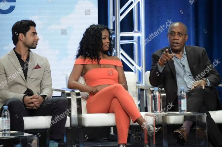 """Felix Mallard, from left, Damon Wayans Jr and Amber Stevens West participate in the """"Happy Together"""" panel during the Television Critics Association Summer Press Tour at the the Beverly Hilton Hotel, in Beverly Hills, Calif"""