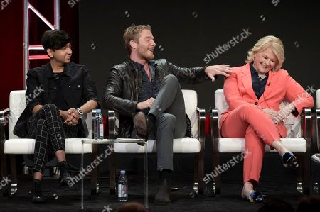 """Nik Dodani, from left, Jake McDorman and Candice Bergen attend the """"Murphy Brown"""" panel during the Television Critics Association Summer Press Tour at the the Beverly Hilton Hotel, in Beverly Hills, Calif"""