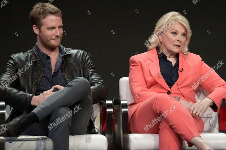 """Jake McDorman, left, and Candice Bergen attend the """"Murphy Brown"""" panel during the Television Critics Association Summer Press Tour at the the Beverly Hilton Hotel, in Beverly Hills, Calif"""