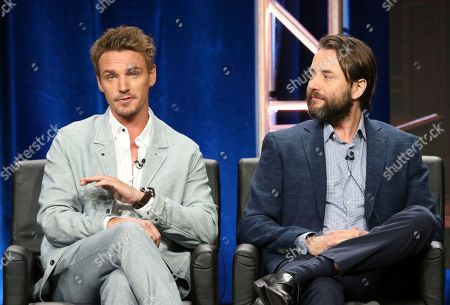 """Riley Smith, left, and Vincent Kartheiser participate in the """"Proven Innocent"""" panel during the Fox Television Critics Association Summer Press Tour at The Beverly Hilton hotel, in Beverly Hills, Calif"""