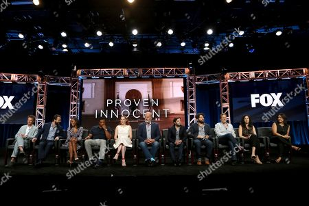 """Stock Picture of Riley Smith, from left, Vincent Kartheiser, Nikki M. James, Russell Hornsby, Rachelle Lefevre, Kelsey Grammer, executive producer Danny Strong, creator/executive producer David Elliot, executive producer/showrunner Adam Armus, executive producer Stacy Greenberg and director Patricia Riggen participate in the """"Proven Innocent"""" panel during the Fox Television Critics Association Summer Press Tour at The Beverly Hilton hotel, in Beverly Hills, Calif"""