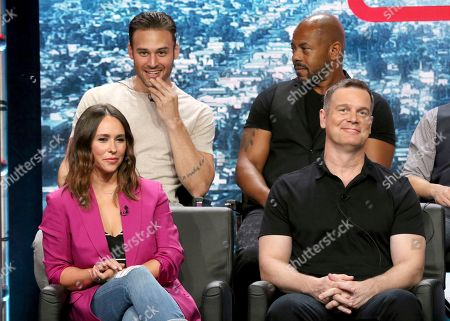 "Ryan Guzman, from back row left, Rockmond Dunbar, and from front row left, Jennifer Love Hewitt and Peter Krause participate in the ""9-1-1"" panel during the Fox Television Critics Association Summer Press Tour at The Beverly Hilton hotel, in Beverly Hills, Calif"