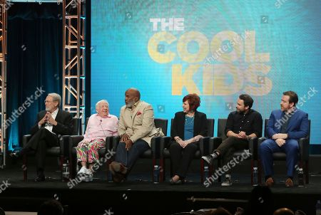 """Martin Mull, from left, Leslie Jordan, David Alan Grier, Vicki Lawrence, co-creator/executive producer/writer Charlie Day and executive producer/showrunner/writer Patrick Walsh participate in """"The Cool Kids"""" panel during the Fox Television Critics Association Summer Press Tour at The Beverly Hilton hotel, in Beverly Hills, Calif"""