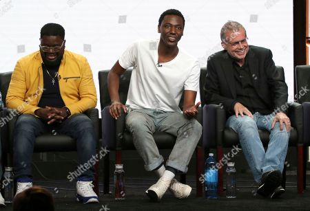 """Co-creator/executive producer/writer Lil Rel Howery, from left, executive producer Jerrod Carmichael and executive producer/showrunner/writer Mike Scully participate in the """"Rel"""" panel during the Fox Television Critics Association Summer Press Tour at The Beverly Hilton hotel, in Beverly Hills, Calif"""