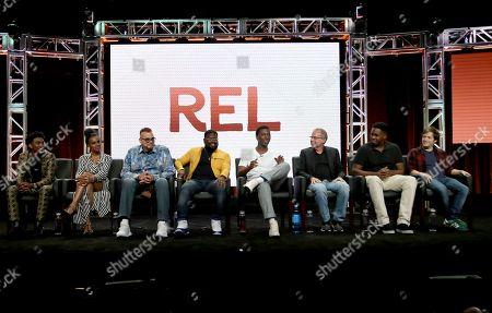 "Jordan L. Jones, from left, Jessica ""Jess Hilarious"" Moore, Sinbad, co-creator/executive producer/writer Lil Rel Howery, executive producer Jerrod Carmichael, executive producer/showrunner/writer Mike Scully and co-creators/executive producers/writers Kevin Barnett and Josh Rabinowitz participate in the ""Rel"" panel during the Fox Television Critics Association Summer Press Tour at The Beverly Hilton hotel, in Beverly Hills, Calif"