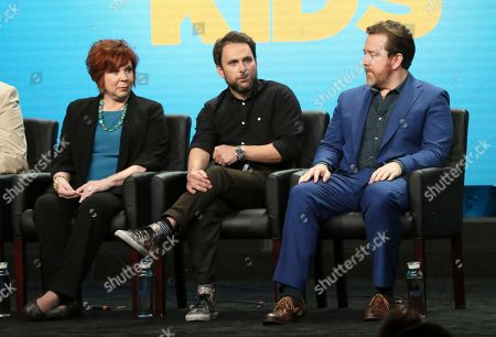 """Vicki Lawrence, from left, co-creator/executive producer/writer Charlie Day and executive producer/showrunner/writer Patrick Walsh participate in """"The Cool Kids"""" panel during the Fox Television Critics Association Summer Press Tour at The Beverly Hilton hotel, in Beverly Hills, Calif"""