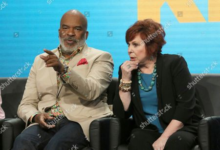 """David Alan Grier, left, and Vicki Lawrence participate in """"The Cool Kids"""" panel during the Fox Television Critics Association Summer Press Tour at The Beverly Hilton hotel, in Beverly Hills, Calif"""
