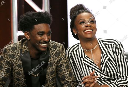 "Jordan L. Jones, left, and Jessica ""Jess Hilarious"" Moore participate in the ""Rel"" panel during the Fox Television Critics Association Summer Press Tour at The Beverly Hilton hotel, in Beverly Hills, Calif"