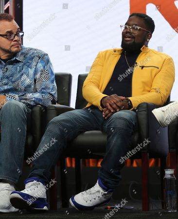 """Sinbad, left, and co-creator/executive producer/writer Lil Rel Howery participate in the """"Rel"""" panel during the Fox Television Critics Association Summer Press Tour at The Beverly Hilton hotel, in Beverly Hills, Calif"""