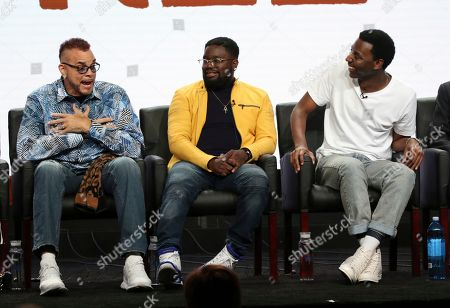 """Sinbad, from left, co-creator/executive producer/writer Lil Rel Howery and executive producer Jerrod Carmichael participate in the """"Rel"""" panel during the Fox Television Critics Association Summer Press Tour at The Beverly Hilton hotel, in Beverly Hills, Calif"""