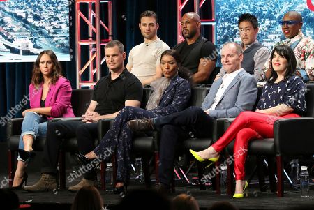 "Ryan Guzman, from back row left, Rockmond Dunbar, Kenneth Choi, Aisha Hinds, and from front row left, Jennifer Love Hewitt, Peter Krause, actress/co-executive producer Angela Bassett, co-creator/executive producer/writer Tim Minear and executive producer Alexis Martin Woodall participate in the ""9-1-1"" panel during the Fox Television Critics Association Summer Press Tour at The Beverly Hilton hotel, in Beverly Hills, Calif"