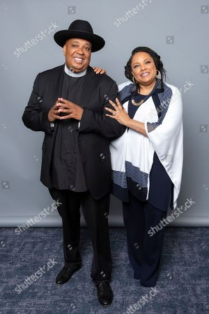 """Joseph Simmons, left, and Justine Simmons, cast members of the Netflix series """"All About The Washingtons"""" pose for a photo during the Netflix portrait session at Television Critics Association Summer Press Tour at The Beverly Hilton hotel, in Beverly Hills, Calif"""