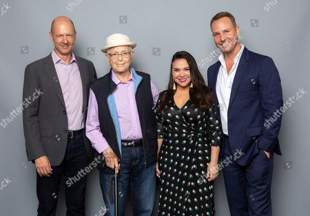 """Producers and writers of the Netflix series """"One Day at a Time"""" Mike Royce, Norman Lear, Gloria Calderon Kellett and Brent Miller pose for a photo during the Netflix portrait session at the Television Critics Association Summer Press Tour at The Beverly Hilton hotel, in Beverly Hills, Calif"""