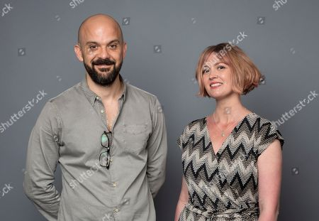 "Hania Elkington, right, and Simon Duric, creators and writers of the Netflix series ""The Innocents,"" pose for a photo during the Netflix portrait session at Television Critics Association Summer Press Tour at The Beverly Hilton hotel, in Beverly Hills, Calif"