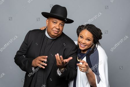 """Joseph Simmons, left, and Justine Simmons, cast members of the Netflix series """"All About The Washingtons"""" pose for a photo during the Netflix portrait session at the Television Critics Association Summer Press Tour at The Beverly Hilton hotel, in Beverly Hills, Calif"""