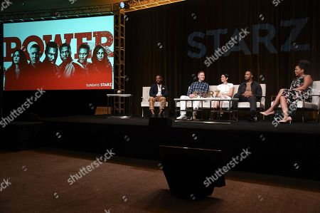 "Larenz Tate, from left, Joseph Sikora, Lela Loren, Omari Hardwick and Courtney Kemp Agboh participate in the ""Power"" panel during the TCA Summer Press Tour, in Beverly Hills, Calif"