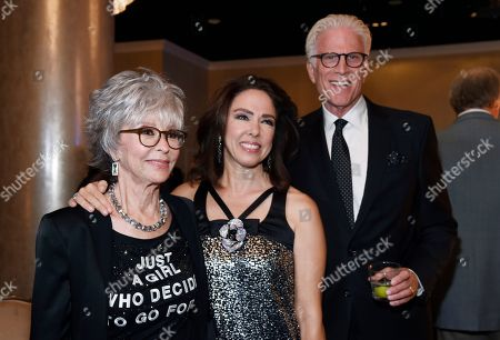 From left, Lifetime Achievement Award honoree Rita Moreno, her daughter Fernanda Luisa Gordon, and actor Ted Danson pose together at the 34th annual TCA Awards during the 2018 Television Critics Association Summer Press Tour, in Beverly Hills, Calif