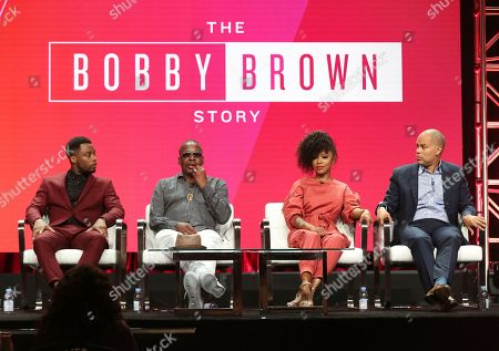 "Woody McClain, from left, Bobby Brown, Gabrielle Dennis and executive producer Jesse Collins participate in ""The Bobby Brown Story"" panel during the Viacom Television Critics Association Summer Press Tour at The Beverly Hilton hotel, in Beverly Hills, Calif"