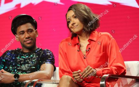 "Brandon Mychal Smith, left, and Kat Graham participate in the ""Rise of the Teenage Mutant Ninja Turtles"" panel during the Viacom Television Critics Association Summer Press Tour at The Beverly Hilton hotel, in Beverly Hills, Calif"