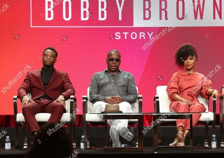 "Woody McClain, from left, Bobby Brown and Gabrielle Dennis participate in ""The Bobby Brown Story"" panel during the Viacom Television Critics Association Summer Press Tour at The Beverly Hilton hotel, in Beverly Hills, Calif"