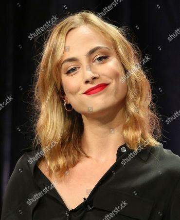 """Nora Arnezeder participates in the """"Origin"""" panel during the YouTube Television Critics Association Summer Press Tour at The Beverly Hilton hotel, in Beverly Hills, Calif"""