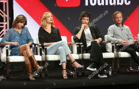 """Natalia Tena, from left, Nora Arnezeder, Sen Mitsuji and Tom Felton participate in the """"Origin"""" panel during the YouTube Television Critics Association Summer Press Tour at The Beverly Hilton hotel, in Beverly Hills, Calif"""