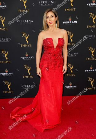 Stephanie Himonidis arrives at the 70th Los Angeles Area Emmy Awards, at the Saban Media Center at Television Academy's North Hollywood, Calif. headquarters on