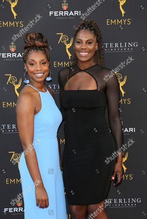 Jantel Lavender, right, and guest arrive at the 70th Los Angeles Area Emmy Awards, at the Saban Media Center at Television Academy's North Hollywood, Calif. headquarters on