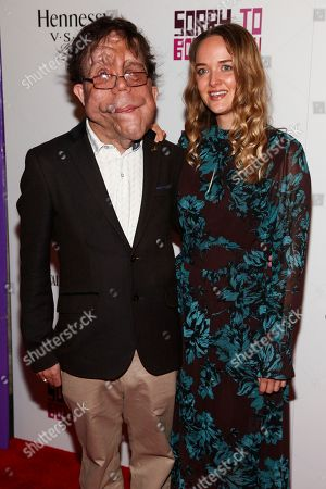 """Adam Pearson, left, and Jess Weixler, right, attend the BAMcinemaFest opening night premiere of """"Sorry To Bother You"""" at the BAM Harvey Theater, in New York"""