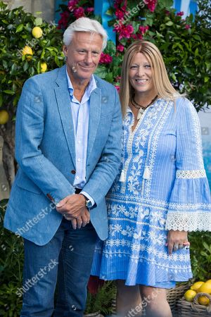 Patricia Ostfeldt and Bjorn Borg pose for photographers upon arrival at the premiere of the film 'Mamma Mia! Here We Go Again', in London