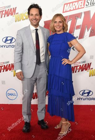 """Paul Rudd, left, and Julie Yaeger arrive at the Los Angeles premiere of """"Ant-Man and the Wasp"""" at El Capitan Theatre on"""