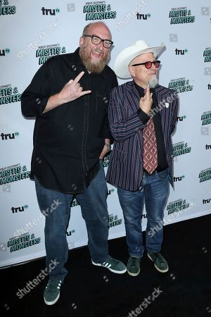 "Brian Posehn, left, and Bobcat Goldthwait arrive at the LA Premiere of ""Bobcat Goldthwait's Misfits and Monsters"" at The Hollywood Roosevelt, in Los Angeles"
