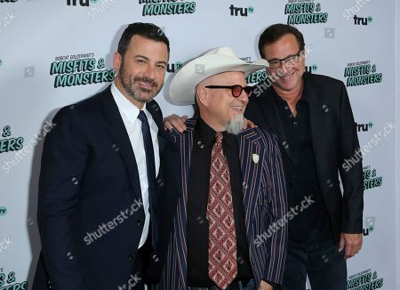 """Jimmy Kimmel, from left, Bobcat Goldthwait and Bob Sage arrive at the LA Premiere of """"Bobcat Goldthwait's Misfits and Monsters"""" at The Hollywood Roosevelt, in Los Angeles"""